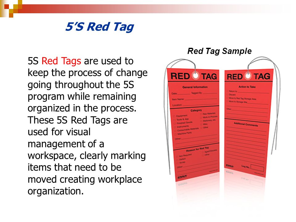 5'S Red Tag Red Tag Sample.