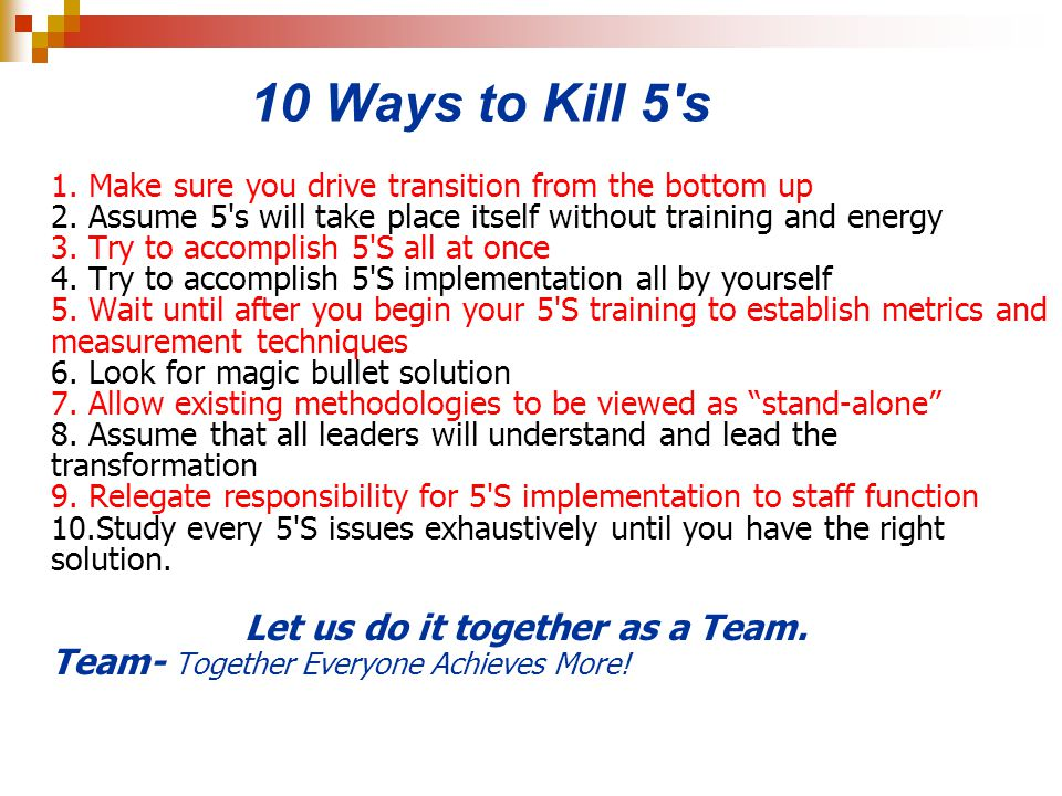10 Ways to Kill 5 s