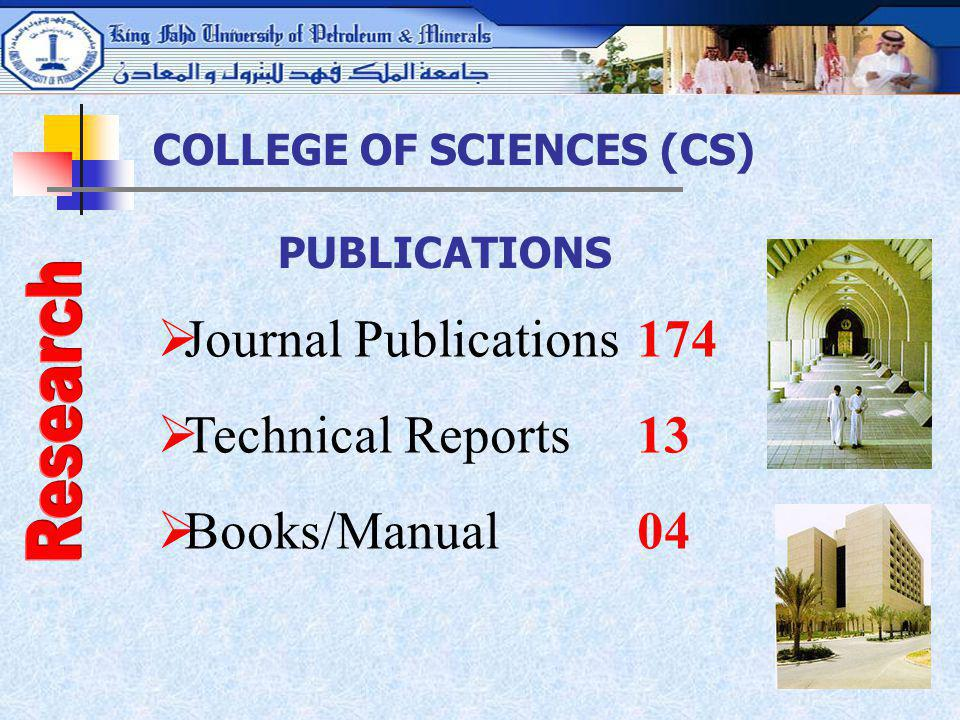 Journal Publications 174 Technical Reports 13 Books/Manual 04 Research