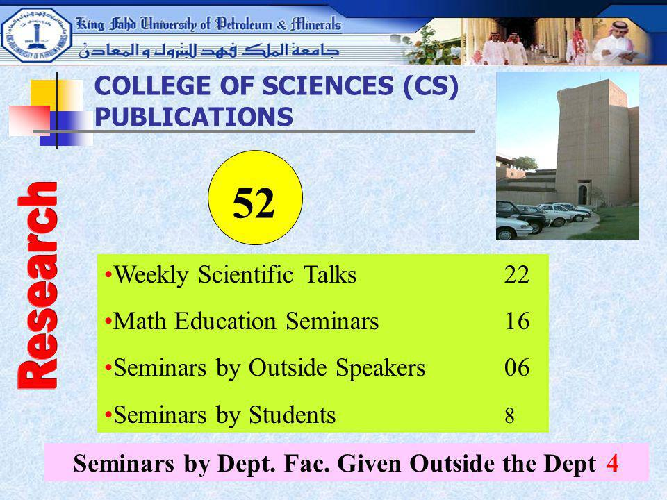 Seminars by Dept. Fac. Given Outside the Dept 4