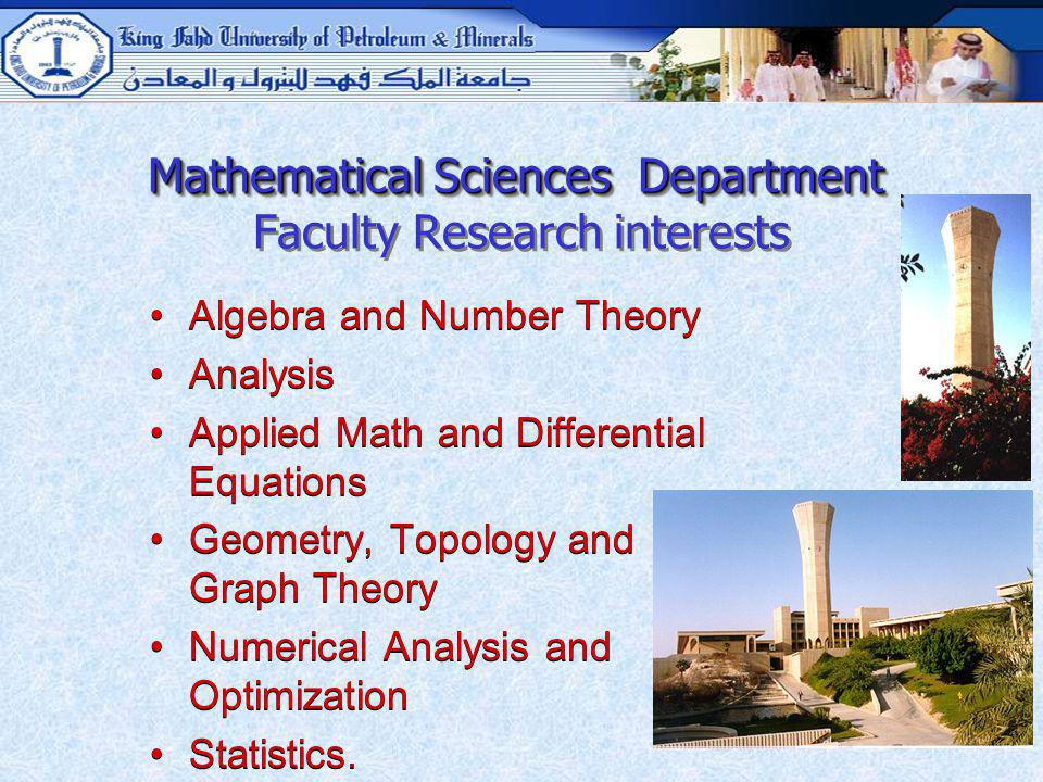 Mathematical Sciences Department Faculty Research interests