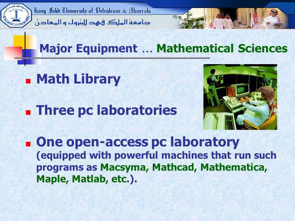 Major Equipment … Mathematical Sciences