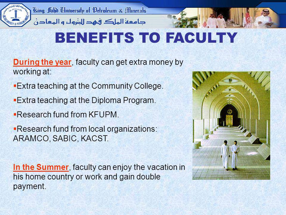 BENEFITS TO FACULTY During the year, faculty can get extra money by working at: Extra teaching at the Community College.