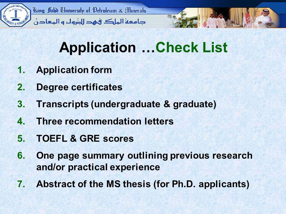 Application …Check List