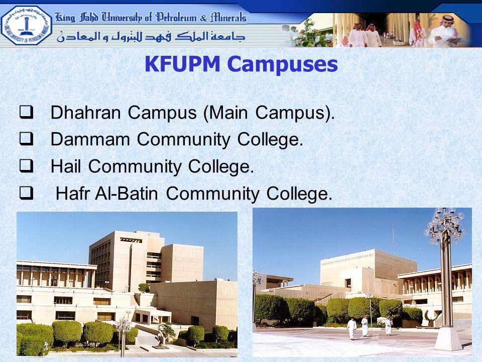 KFUPM Campuses Dhahran Campus (Main Campus). Dammam Community College.