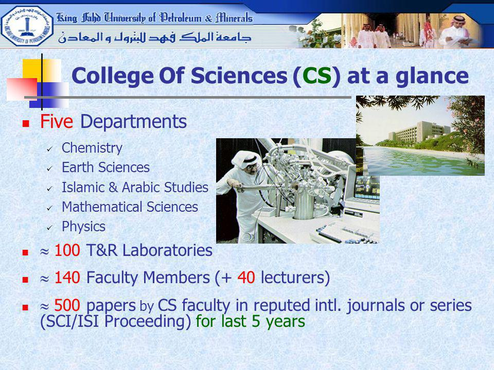 College Of Sciences (CS) at a glance