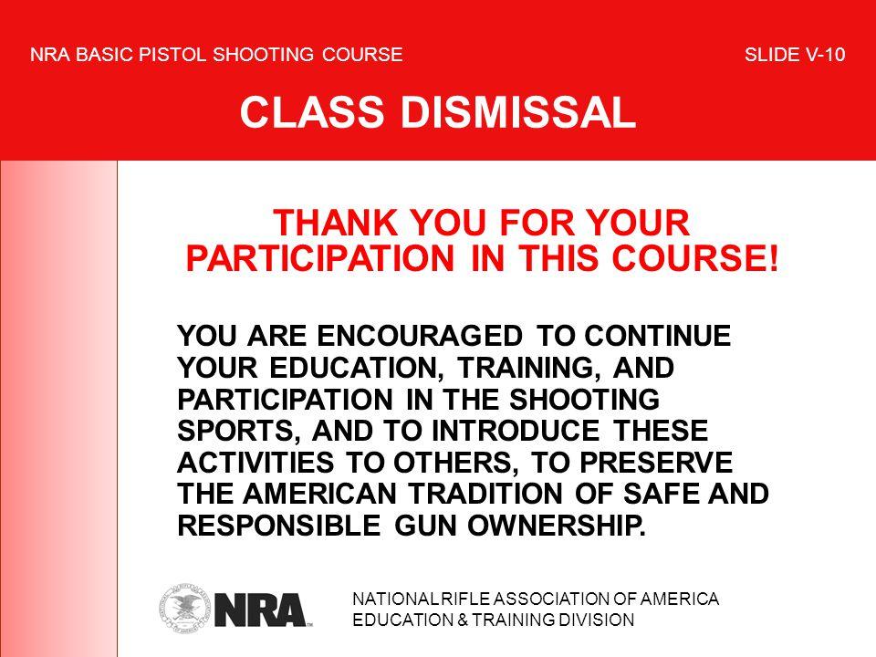 NRA BASIC PISTOL SHOOTING COURSE SLIDE V-10 CLASS DISMISSAL