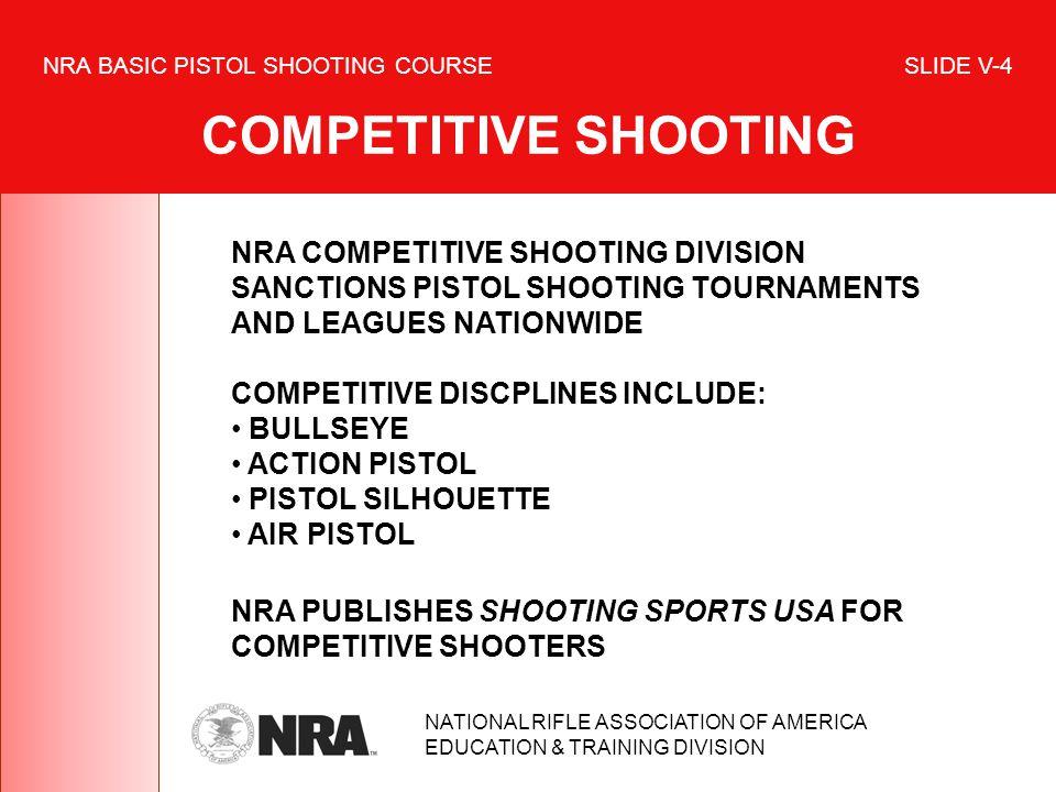 NRA BASIC PISTOL SHOOTING COURSE SLIDE V-4 COMPETITIVE SHOOTING