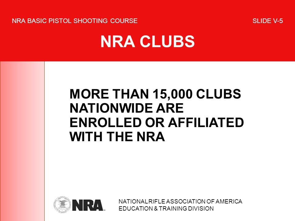 NRA BASIC PISTOL SHOOTING COURSE SLIDE V-5 NRA CLUBS
