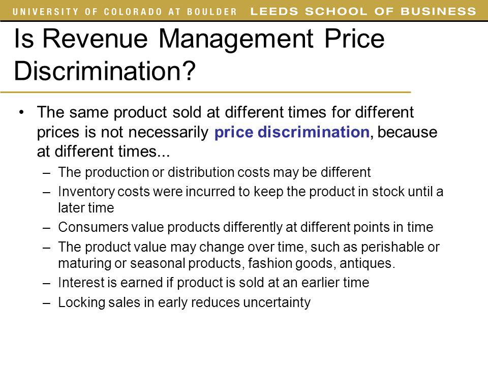Is Revenue Management Price Discrimination