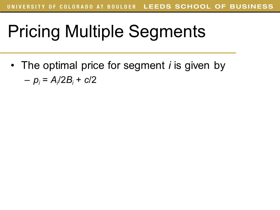 Pricing Multiple Segments