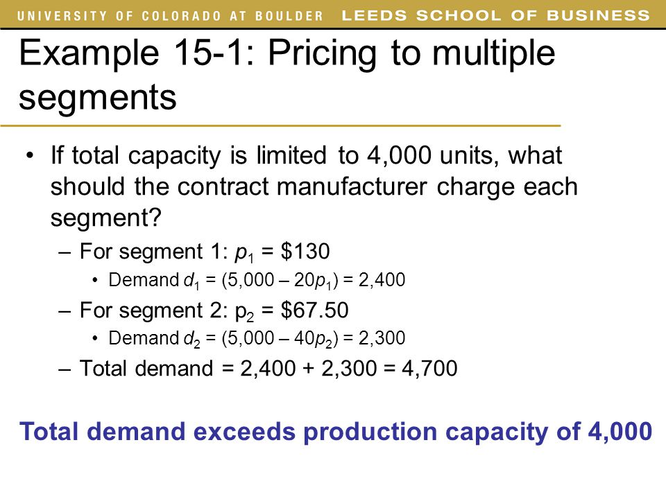 Example 15-1: Pricing to multiple segments