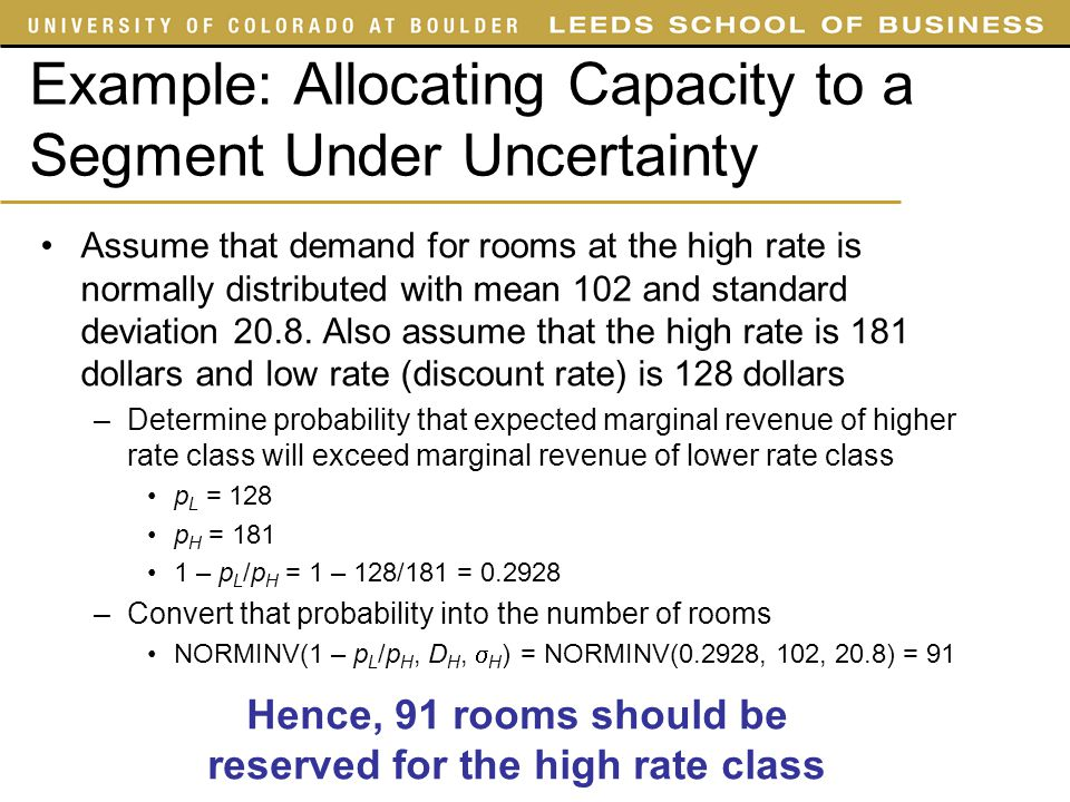 Example: Allocating Capacity to a Segment Under Uncertainty