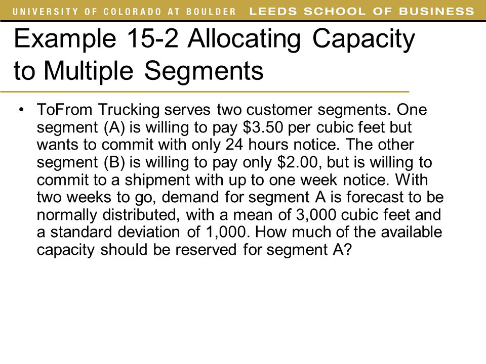Example 15-2 Allocating Capacity to Multiple Segments