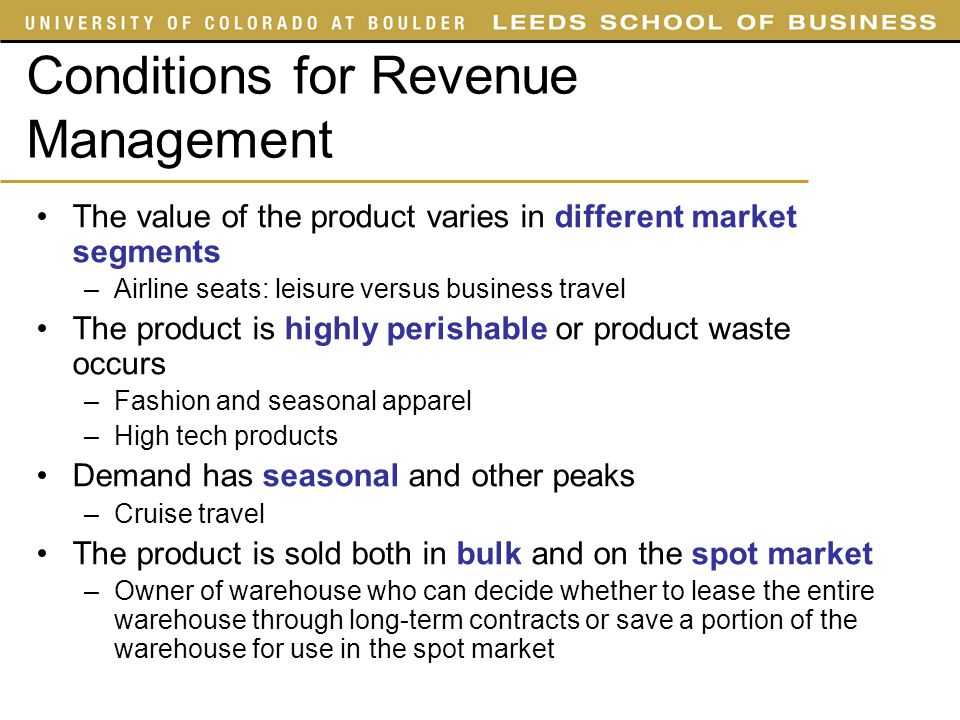 Conditions for Revenue Management