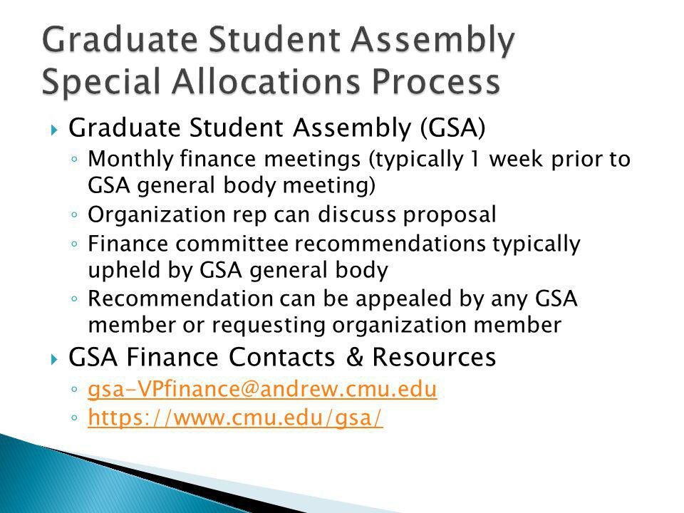 Graduate Student Assembly Special Allocations Process