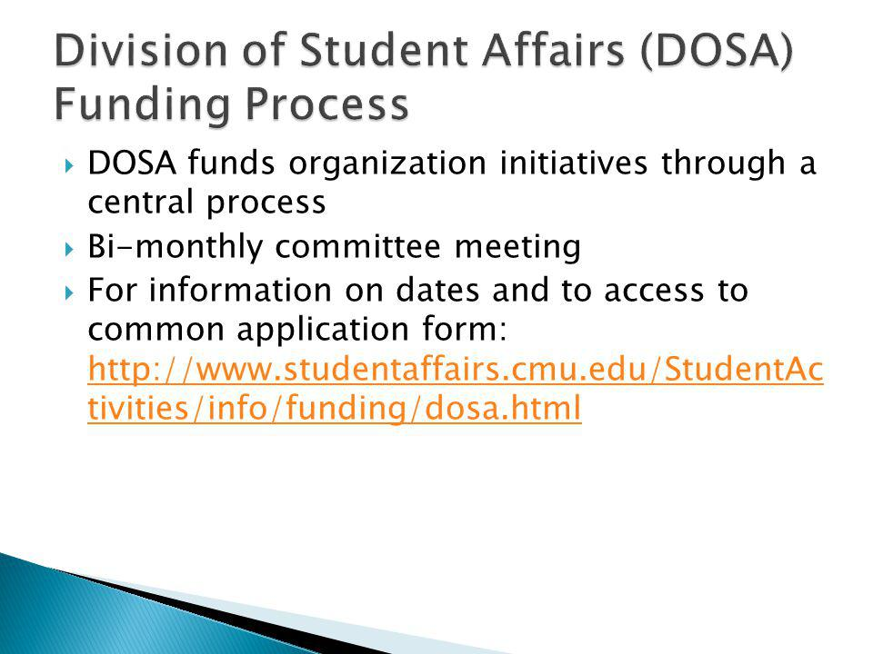 Division of Student Affairs (DOSA) Funding Process