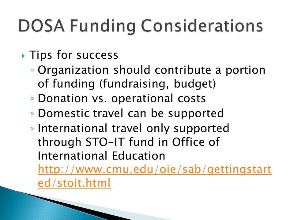 DOSA Funding Considerations