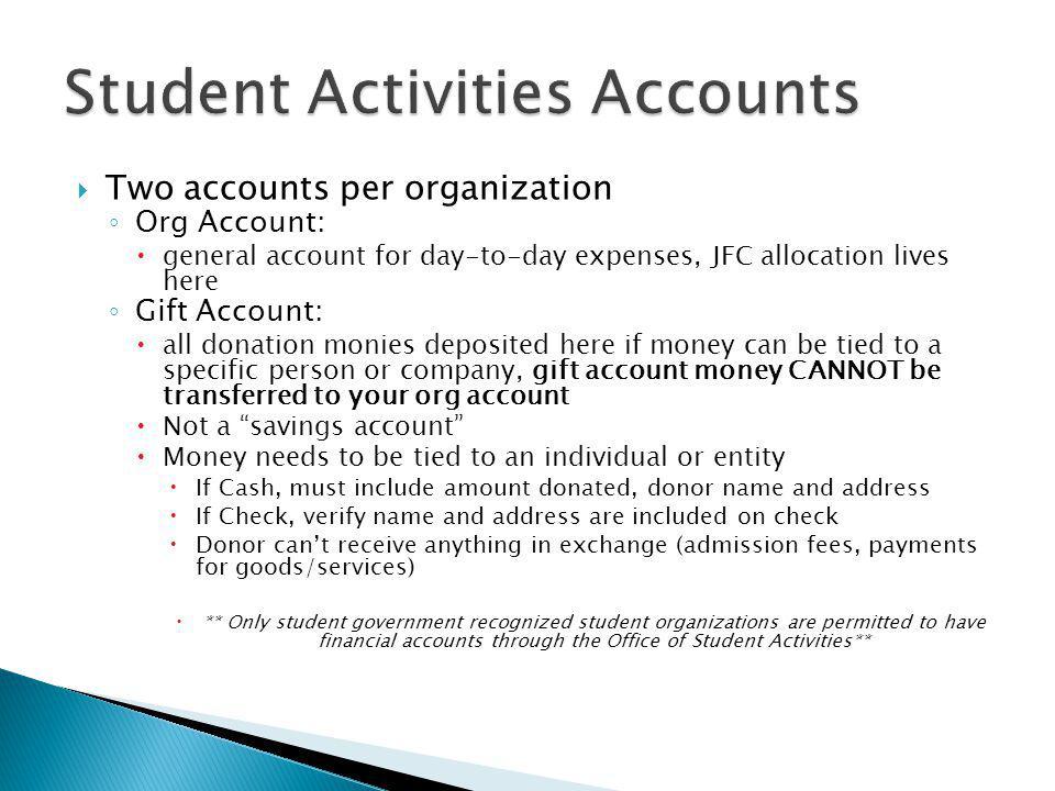 Student Activities Accounts