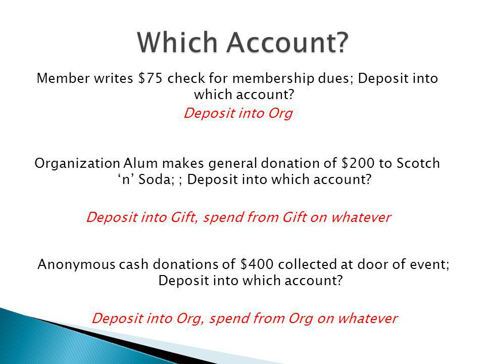 Which Account Member writes $75 check for membership dues; Deposit into which account Deposit into Org