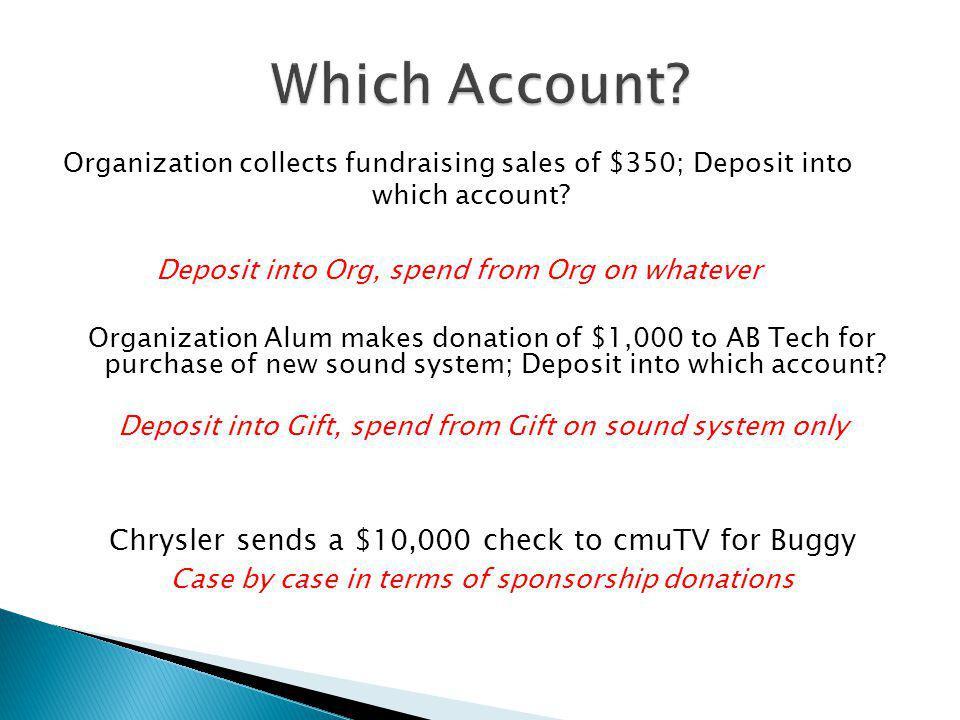 Which Account Chrysler sends a $10,000 check to cmuTV for Buggy