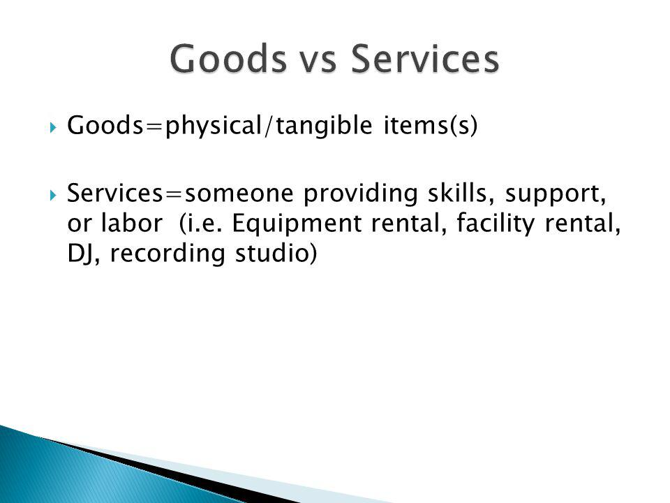 Goods vs Services Goods=physical/tangible items(s)