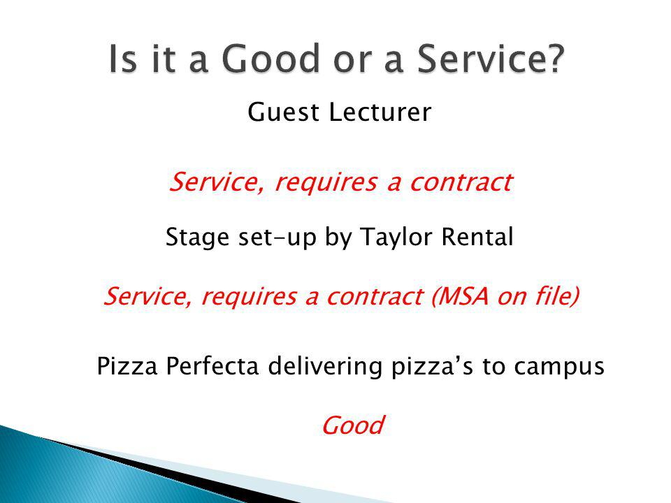 Is it a Good or a Service Guest Lecturer Service, requires a contract