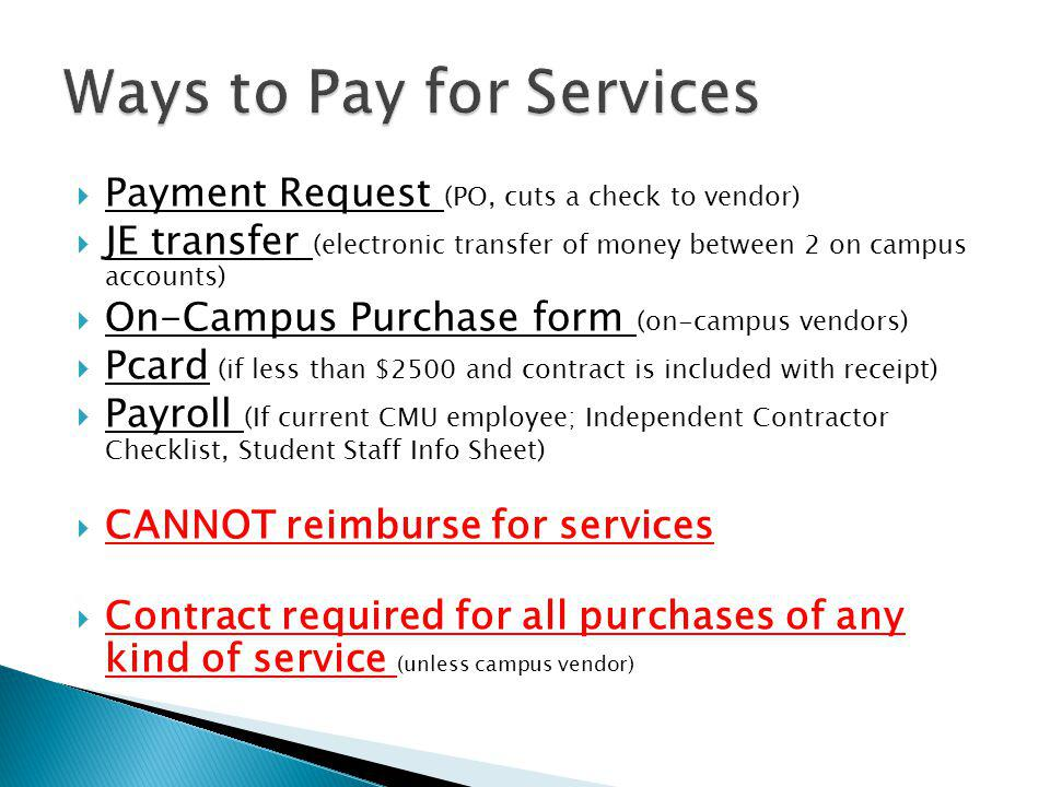 Ways to Pay for Services