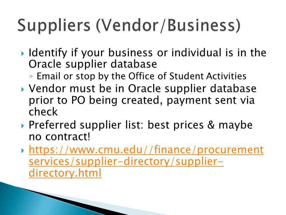 Suppliers (Vendor/Business)