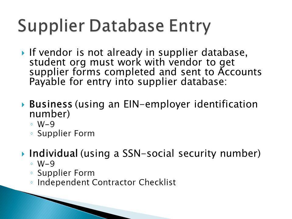 Supplier Database Entry