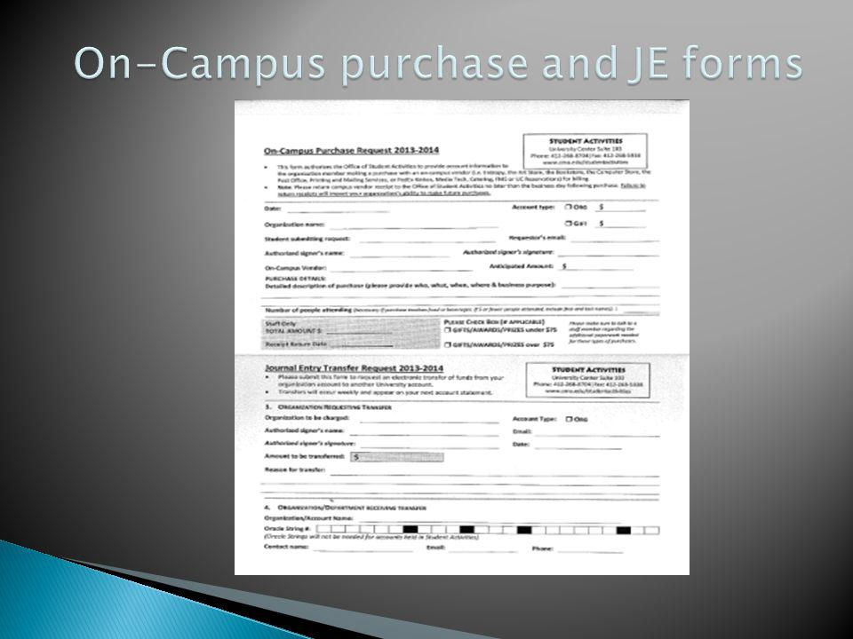 On-Campus purchase and JE forms