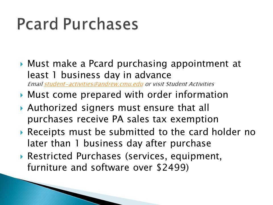 Pcard Purchases