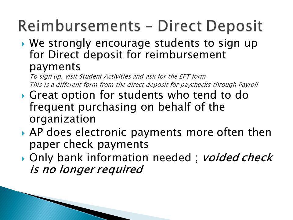 Reimbursements – Direct Deposit