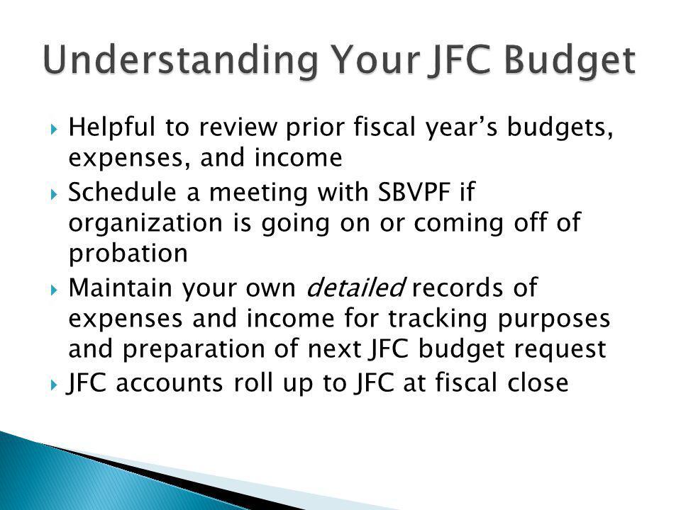 Understanding Your JFC Budget