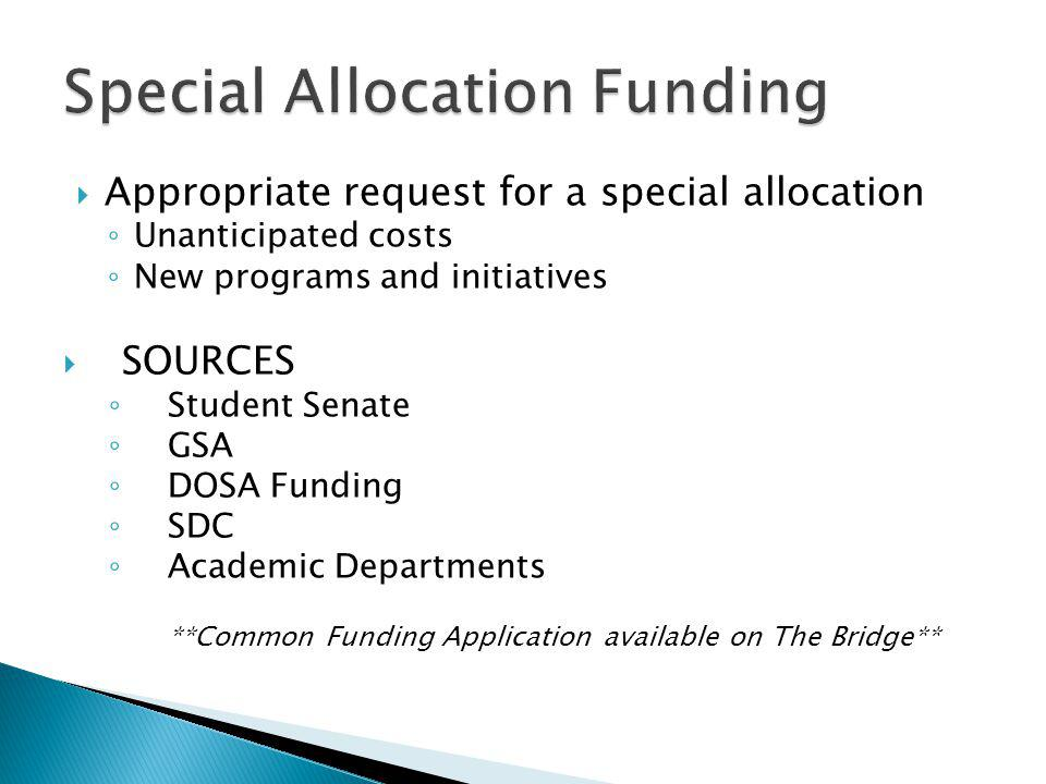 Special Allocation Funding