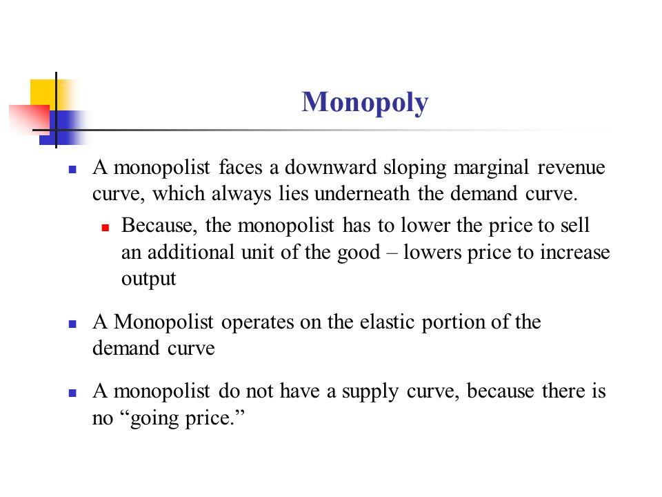 Monopoly A monopolist faces a downward sloping marginal revenue curve, which always lies underneath the demand curve.