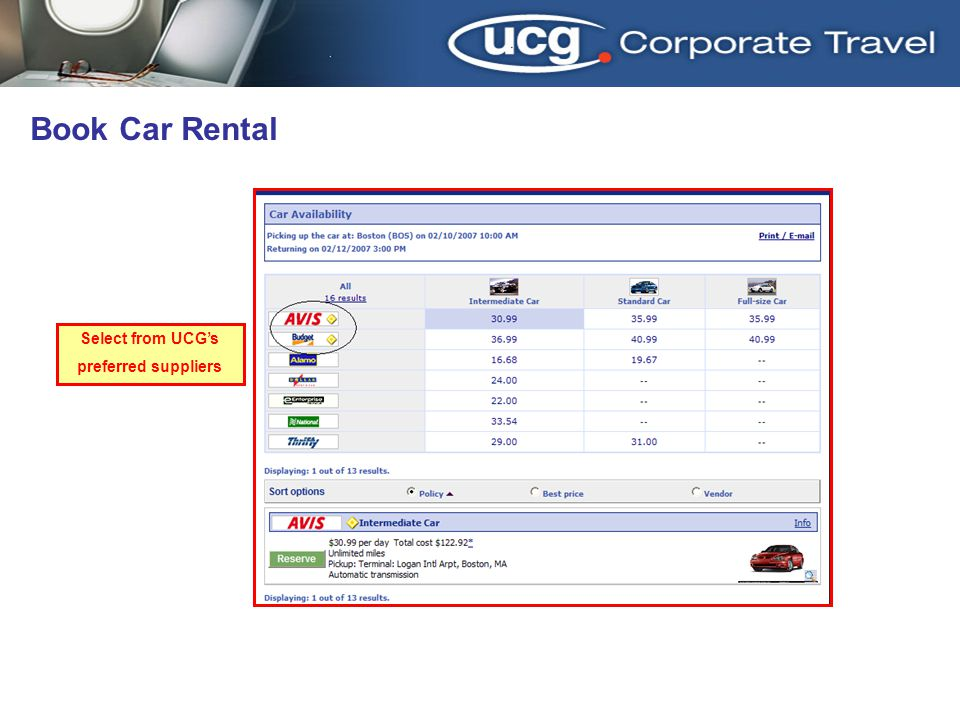 3/31/2017 Book Car Rental Select from UCG's preferred suppliers