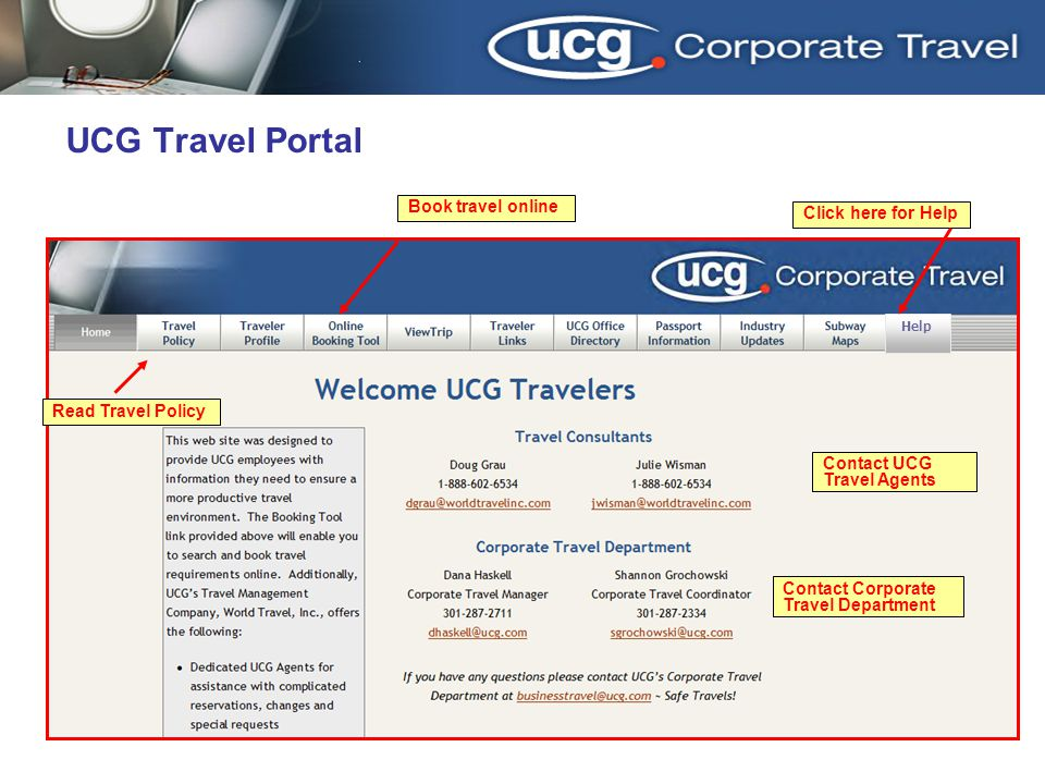 UCG Travel Portal 3/31/2017 Book travel online Click here for Help