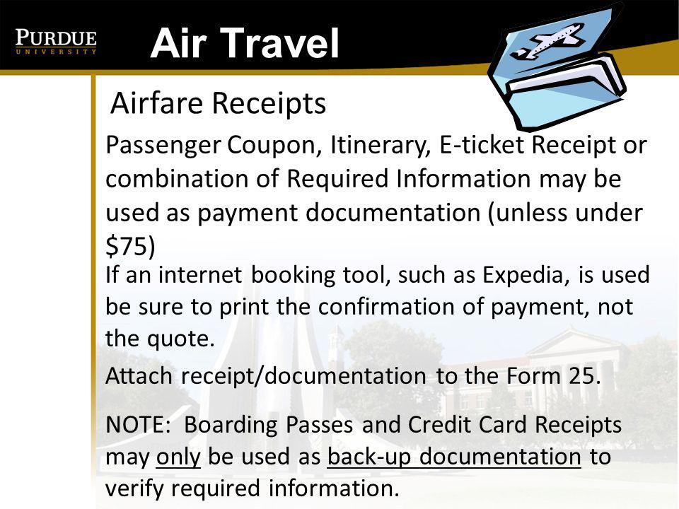 Air Travel Airfare Receipts