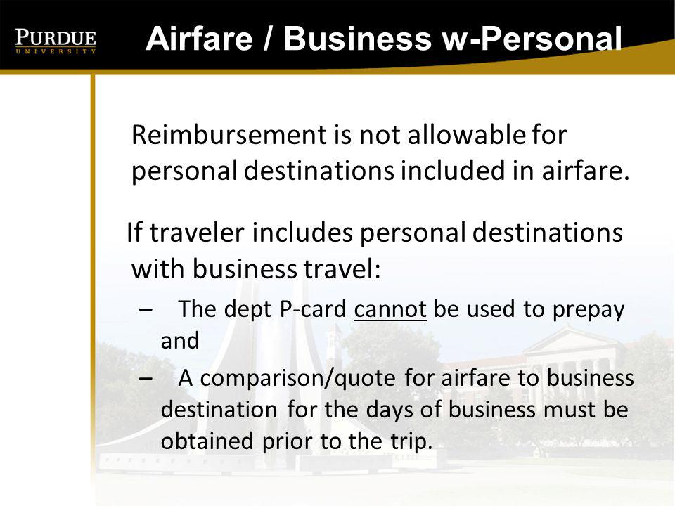Airfare / Business w-Personal