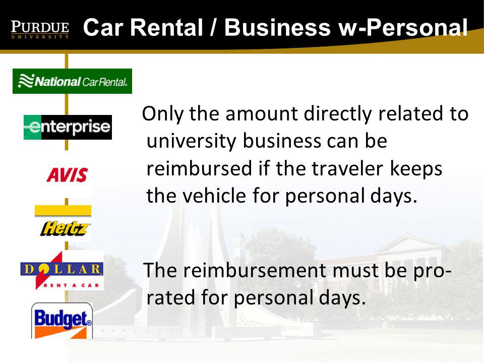 Car Rental / Business w-Personal