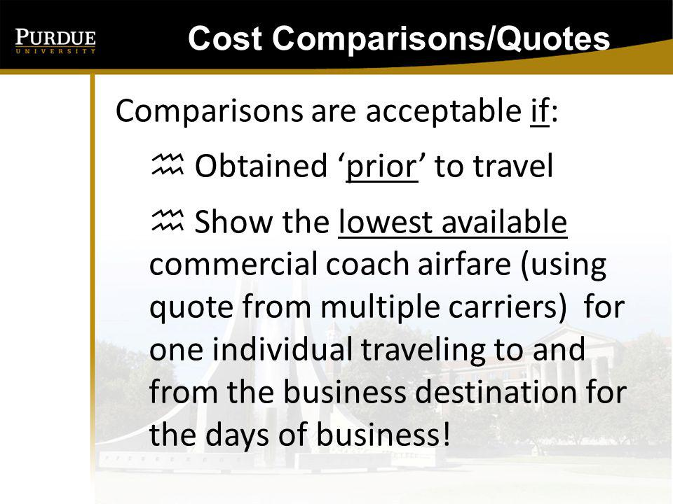 Cost Comparisons/Quotes