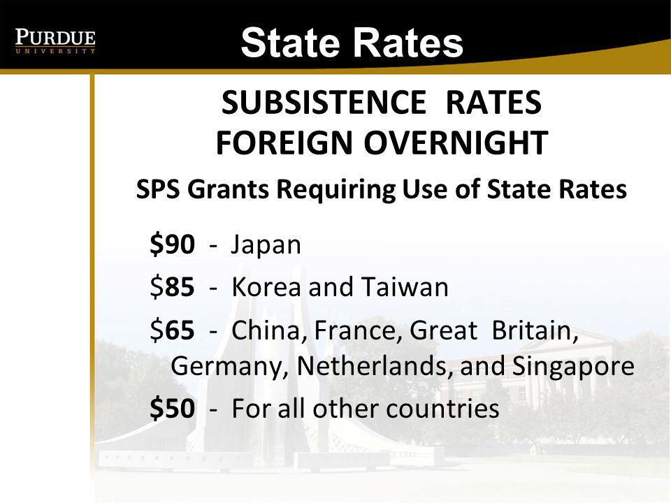 SPS Grants Requiring Use of State Rates
