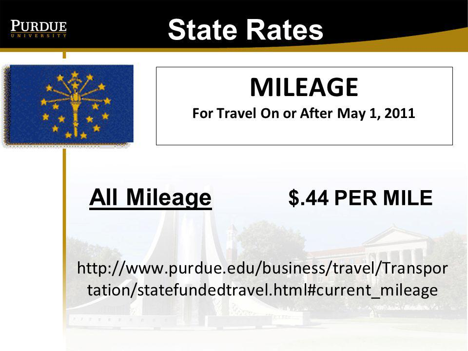 MILEAGE For Travel On or After May 1, 2011