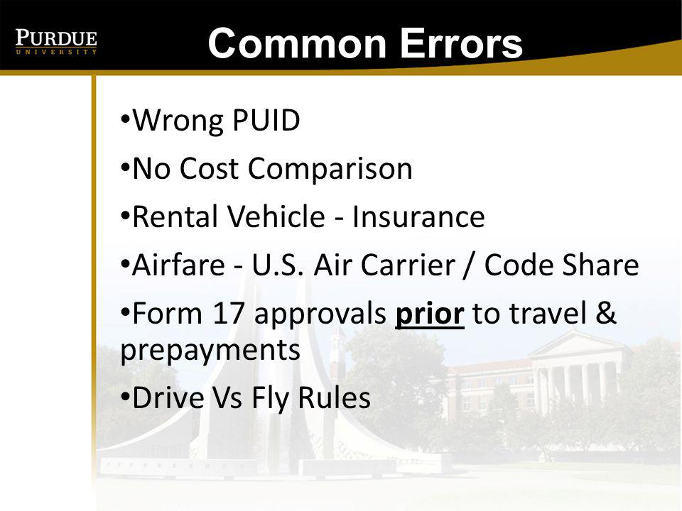 Common Errors Wrong PUID No Cost Comparison Rental Vehicle - Insurance
