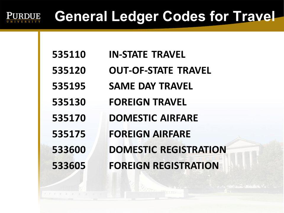 General Ledger Codes for Travel