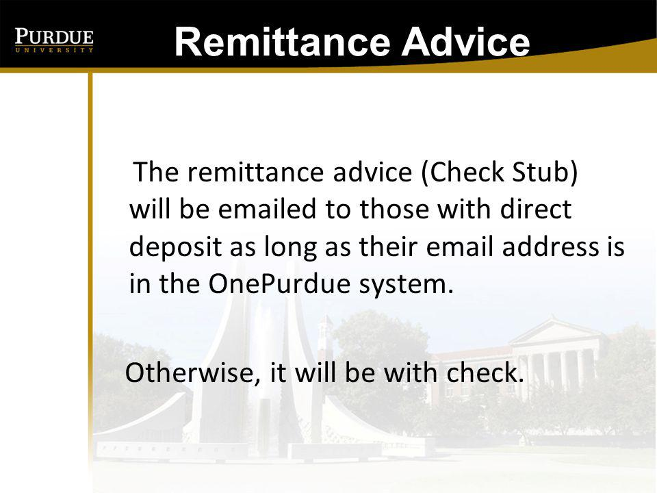 Remittance Advice