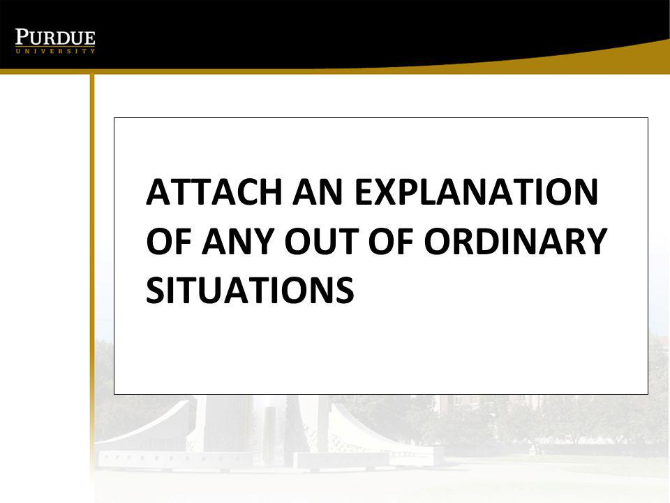 ATTACH AN EXPLANATION OF ANY OUT OF ORDINARY SITUATIONS