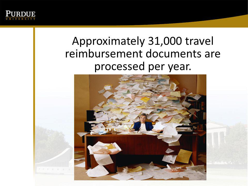Approximately 31,000 travel reimbursement documents are processed per year.