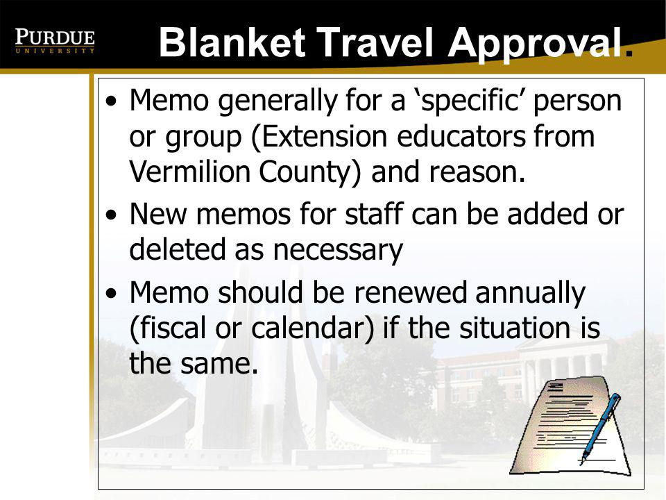 Blanket Travel Approval: